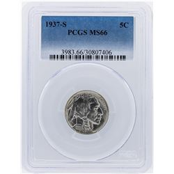 1937-S Buffalo Nickel Coin PCGS Graded MS66