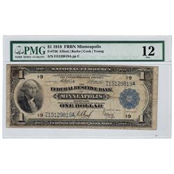 1918 $1 National Currency Large Note FRBN Minneapolis PMG F12