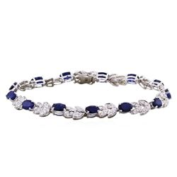 14KT White Gold 7.55ct Sapphire and Diamond Bracelet