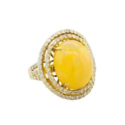 14KT Yellow Gold 9.88ct Opal and Diamond Ring