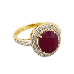 14KT Yellow Gold 5.16ct Ruby and Diamond Ring