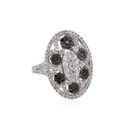 14KT White Gold 1.24ctw Black and White Diamond Ring