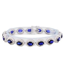 14KT White Gold 13.85ctw Sapphire and Diamond Bracelet