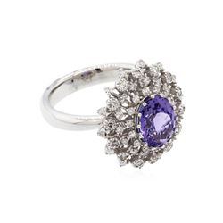 14KT White Gold 2.18ct Tanzanite and Diamond Ring