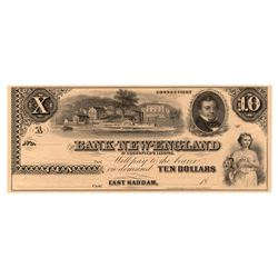 1800's $10 The Bank of New England Goodspeeds Obsolete Note