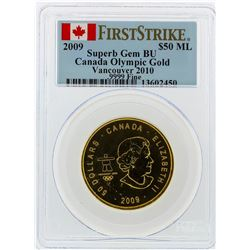 2009 $50 Maple Leaf Gold Coin Olympic PCGS Superb Gem BU