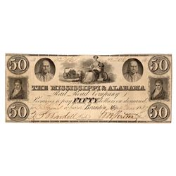 1837 $50 Mississippi & Alabama Rail Road Company Note