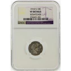 1910-S Liberty Head Dime NGC Graded VF Details Scratches