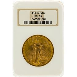 1911-D $20 St. Gaudens Double Eagle Gold Coin NGC MS63