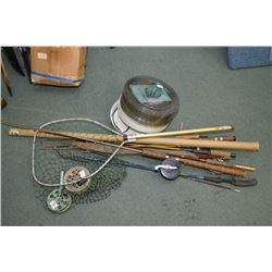 Bundle older fish rods four reels net etc food for Rods fish food