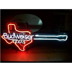 "Budweiser Texas Guitar NEON SIGN, 18""x38"", Pick-UP Only, NO SHIPPING. Guitar Body is shape of Texas"