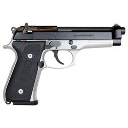 "BERETTA 92FS TWO-TONE 9MM 4.9"" 15-SHOT BLACK SLIDE/INOX FRAME, NEW IN BOX, # SPEC0587A, Z"