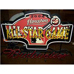 "2004 Houston All Star Game Budweiser NEON Sign, 30""x22"", NO SHIPPING, PICK-UP ONLY"
