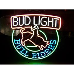 "Bud Light Bull Riders, OLD NEON Sign, 21""x23"", NO SHIPPING, PICK-UP ONLY"