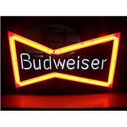 "RARE Budweiser Bow Tie NEON Sign with ""OPEN"", 19""x30"", OLD, NO SHIPPING, PICK-UP ONLY"