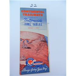 August 1st 1949 Nationwide Time Tables of the Continental Trailways National Bus System, 23 pages
