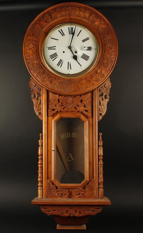 Large Carved Wooden Regulator Wall Clock Approximately 51