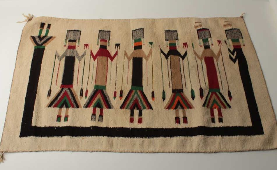 Image 1 Indian Woven Rug With Yei Figures From Navajo To Hopi Areas 40