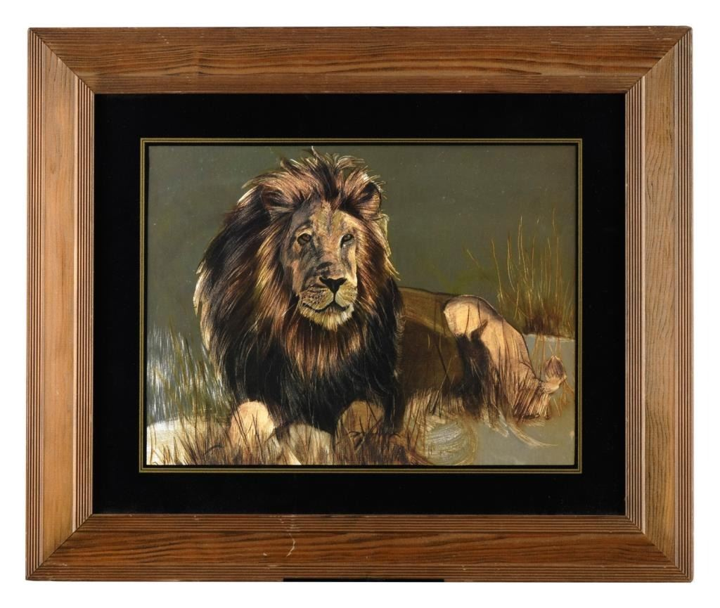 Framed And Matted Color Print On Foil Of A Male Lion Majestically Lying In The Grass Loading Zoom