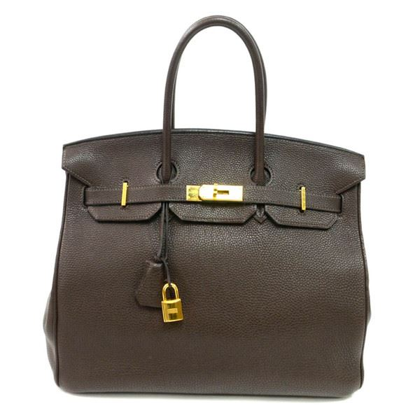authentic vintage hermes 35cm birkin bag in chocolate clemence leather with gold. Black Bedroom Furniture Sets. Home Design Ideas