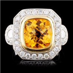 18K TT Gold 2.50ct Citrine & 0.90ctw Diamond Ring