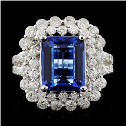 18K W Gold 3.81ct Tanzanite & 1.82ct Diamond Ring