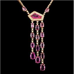18K Gold 9.09ct Sapphire & 2.56ct Diamond Necklace