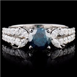 18K White Gold 1.52ctw Fancy Color Diamond Ring