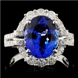 18K W Gold 3.70ct Tanzanite & 0.88ctw Diamond Ring