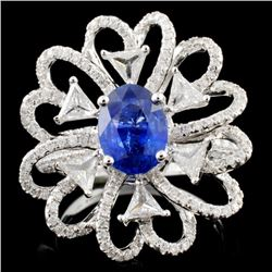18K White Gold 1.49ct Sapphire & 1.41ct Diamond Ri