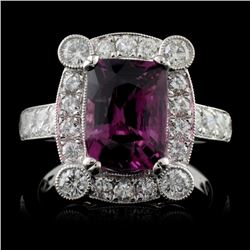 18K White Gold 3.09ct Spinel & 1.00ct Diamond Ring