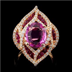 18K Rose Gold 3.00ct Sapphire & 0.82ct Diamond Rin