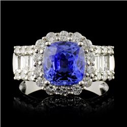 18K White Gold 3.10ct Sapphire & 1.18ct Diamond Ri