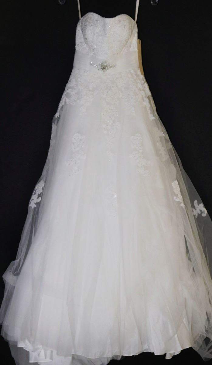 White strapless lace overlay wedding gown w kastner for Lace wedding dress overlay