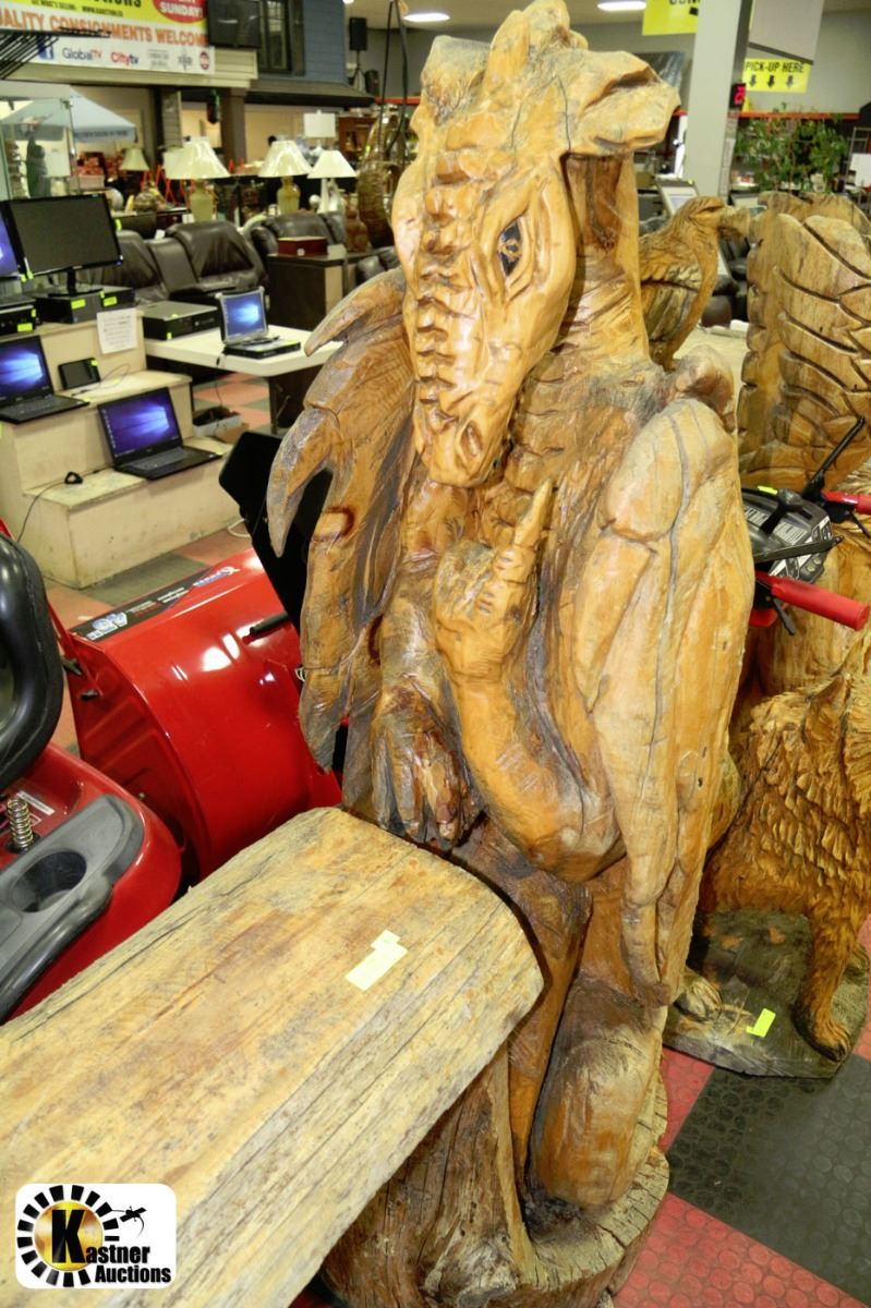 Chainsaw carving viking dragon w bench