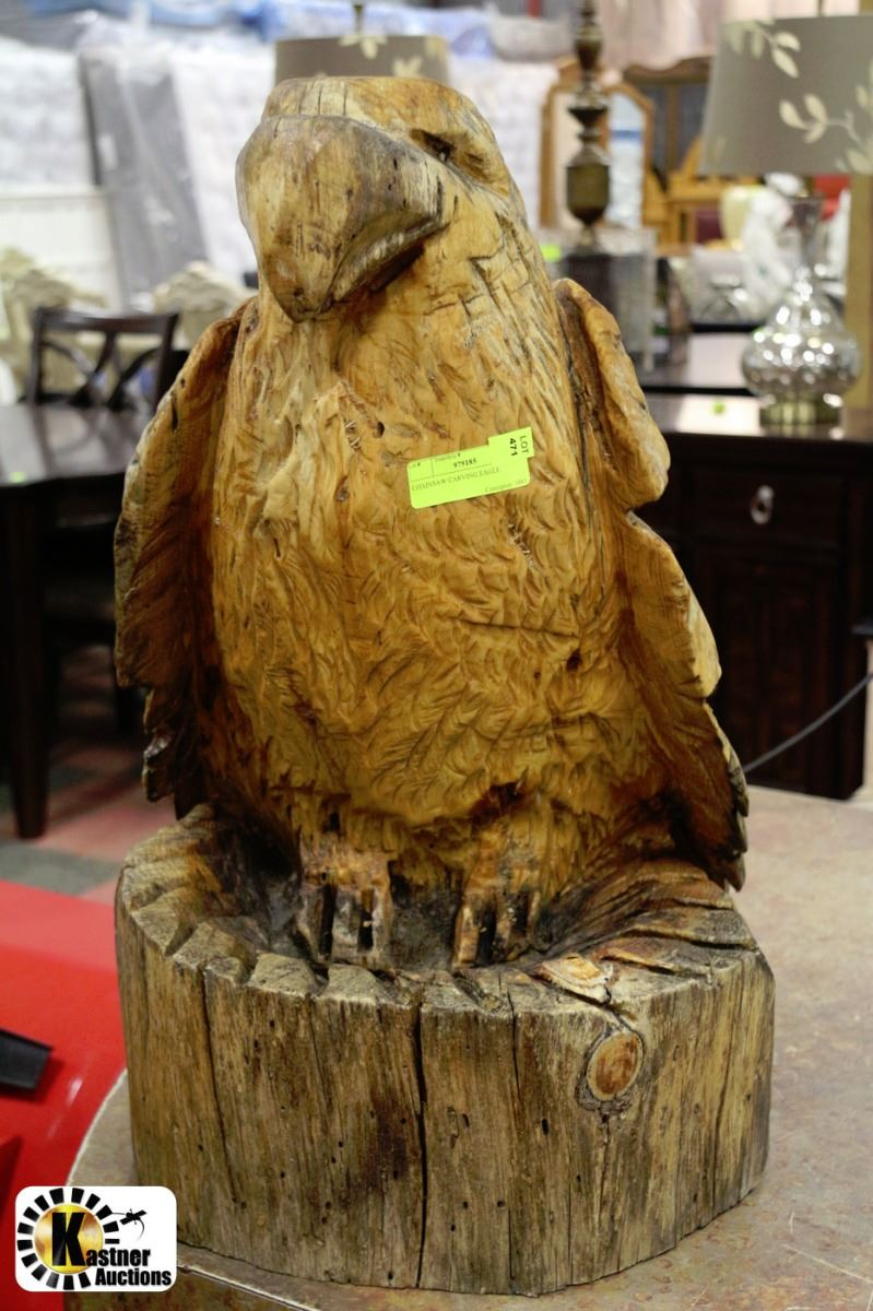 Chainsaw carving eagle quot h