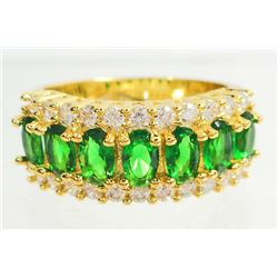 GOLD FILLED GREEN EMERALD LADIES RING - SIZE 7