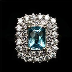 STERLING SILVER SKY BLUE TOPAZ LADIES RING - SIZE 6.75