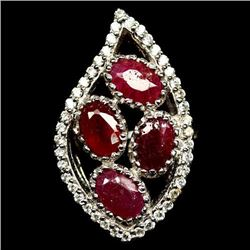 STERLING SILVER RUBY LADIES RING - SIZE 8