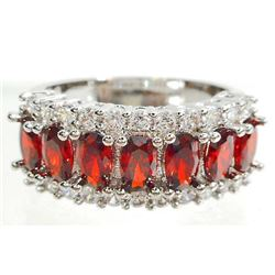 WHITE GOLD FILLED RUBY LADIES RING - SIZE 7