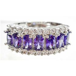 WHITE GOLD FILLED AMETHYST LADIES RING - SIZE 7