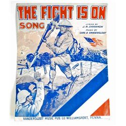 1918 THE FIGHT IS ON SONG SAMPLES SHEET MUSIC