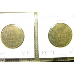 1893 & 1897 Canada Large Cents. Both grading VF.