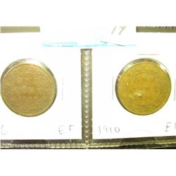1906 & 1910 Canada Large Cents. Both grading EF.
