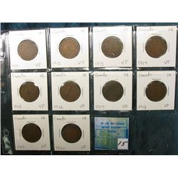Complete 10 Piece set of Canada George V Large Cents. All grading VF.