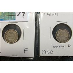 Lot of Canada Five Cent Silvers: 1896 & 1900 narrow O both grading F.