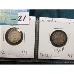 Lot of Canada Five Cent Silvers: 1902 & 1902 H Large H both grading VF.