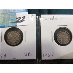 Lot of Canada Five Cent Silvers: 1903H VG & 1904 VF.