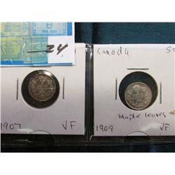 Lot of Canada Five Cent Silvers: 1907 & 1909 maple leaves both grading VF.