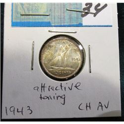 1943 Canada Silver Dime. AU. Attractive toning.